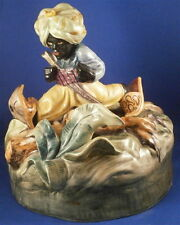 Wiener Kunstkeramische Werkstätte Ceramic Blackamoor Figural Lamp Figure Vienna