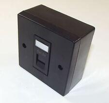 2x BLACK Cat5e RJ45 Single Face Plate & BACK BOX (Ethernet Network wall socket)