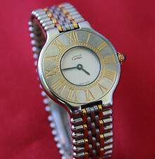 Cartier Must 21 Quartz Stahl / Gold Vintage Damenuhr 28 mm