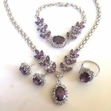 SET Purple Amethysts WHITE GOLD GF Matching Necklace Bracelet Earrings Ring PLUM