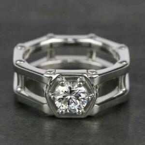 2.5CT Round Moissanite Men's Hexagon Band Engagement Ring 14K White Gold Finish