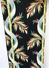Vintage Bamboo Tiki Barkcloth Curtain Panel or Fabric 40s 1940s Art Deco