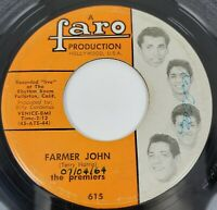 The Premiers Farmer John Duffy's Blues Live At Rhythm Room CA 45rpm Faro 615 VG