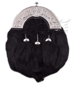 Scottish Black Rabbit Fur Kilt Sporran LI-SCO-0047