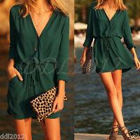 Women Summer Casual Long Sleeve Evening Party Beach Dresses Shoort Mini Dress
