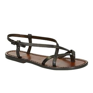 Ladies handmade ankle strap thong sandals in dark brown leather Made in Italy