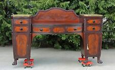 Flamed Mahogany Empire Bow Front Sideboard With Brass Galleries & Paw Feet c1830