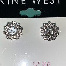 Nine West Crystal Rhinestone Flower Stud Pierced Earrings