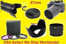 TO CAMERA NIKON COOLPIX L310 L120 > ADAPTER+FILTER KIT+FLOWER HOOD+LENS CAP 67mm