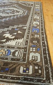 "Bohemian Antique 1940-1950s Muted Natural Dye Wool Pile Area Rug 3'7""×6'5"""