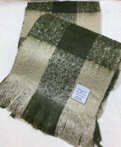 Williams Sonoma Ivory/Olive Faux Mohair Checked Throw