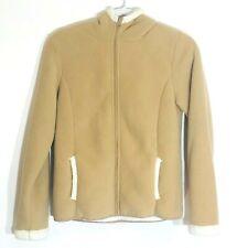 Faded Glory Hoodie Long Sleeve Full Zip Fleece Polyester Tan/White Size XL 14-16