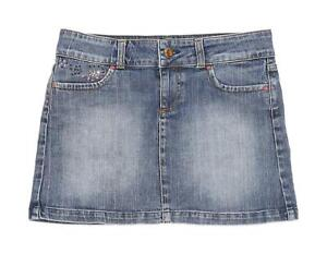 Zara Womens Size 10 Denim Blue Glittery Skirt (Regular)