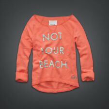 GILLY HICKS CORAL ATTITUDE OFF SHOULDER NOT YOUR BEACH SWEATSHIRT TOP XS 8 4 36!