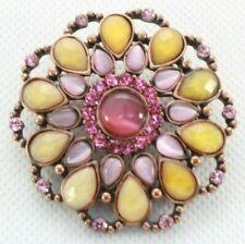 & Pink Rhinestones - Copper Tone Brooch Pin - Flower Filigree - Yellow