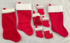 Red White Multi-Size Plush Christmas Stocking - Lot of 8