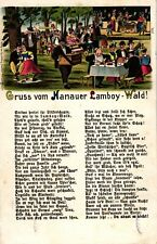 """Hanau, Farb-Litho, """"Gruss vom Lamboy Wald"""", 1906"""