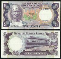 Sierra Leone : 5 Leones 1985 SPL à UNC ; Année plus Rare