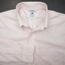 BROOKS BROTHERS Pink Supima Cotton Button Down Mens Dress Shirt 15.5 35 Slim Fit