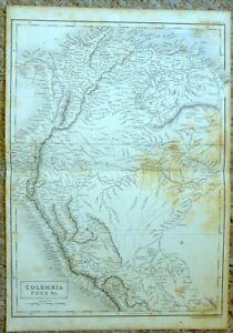 Antique print MAP engraving - 1842 - COLUMBIA PERU ETC