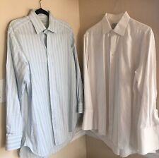 Charles Tyrwhitt Lot Of 2 Shirts 16.5/33 White French Cuffs & 16/33 Blue Striped
