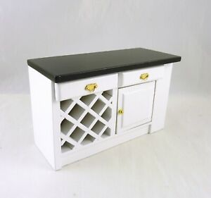 Dollhouse Miniature White Kitchen Center Island w/ Black Top, T5300