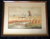Circa 1970's Indonesian Watercolor by Dawan, Workers in Field