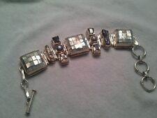 Gorgeous Pearl Sterling Silver Abalone Topaz Gemstone Statement Bracelet Rare
