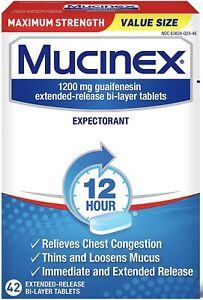 New Mucinex Maximum Strength 12 Hour 1200 mg Guaifenesin 42 Ct Exp.2023+