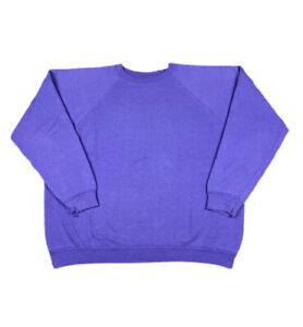 Vintage 90s Faded Purple Blank Raglan Crewneck Sweatshirt Hanes Her Way Large