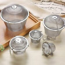 Stainless Steel Herbal Tea Ball Spice Strainer Mesh Infuser Filter Bag 5 Sizes