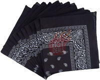 Lot of 6 PCS Black Bandana Face Mask Wrap Paisley Head Scarf 100%Cotton