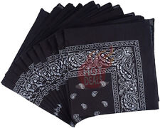 Lot of 12 PCS Black Bandana Wrap Head Paisley Scarves 100% Cotton