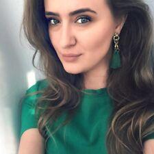 ANTIQUE GOLD GREEN TASSEL EARRINGS TASSLE XMAS  LADIES GIFT  *UK SELLER* GTG1