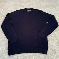 MARKS & SPENCER Mens Knitted Jumper Medium Blue Cotton Blend Pullover