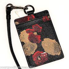 NWT Coach Lanyard RARE Id/Badge Black Red Tan Holder Card/Pass Case Floral 56003