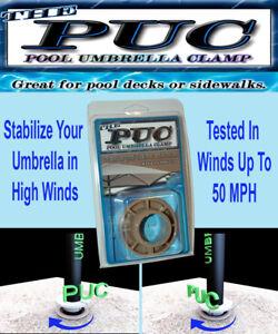 The Original POOL UMBRELLA CLAMP. Secures Pool Umbrellas In High Winds.