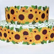 """GROSGRAIN RIBBON 7/8"""" Sunflowers Flowers s12 Printed USA SELLER"""