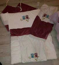 Baby Bett Ausstattung Eule Nestchen, Decke, Wickelauflage