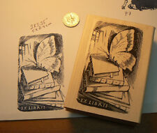 "P7  Ex Libris butterfly on books rubber stamp 3.25x2"" WM NEW"