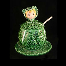 Vintage LEFTON JAM BOWL Cissy Cabbage Cuties Jar w saucer and spoon
