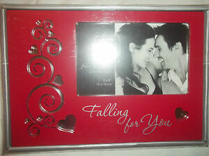 """NEW PRINZ RED FROM HEART """"FALLING FOR YOU"""" 4"""" x 6"""" PICTURE FRAME W/MIRROR INLAY"""
