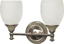 Brushed Nickel And Alabaster Swirl Glass Energy Star 2 Light LED Bath Wall