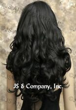 STRIKING! Long Full Wavy Curly layered Black Luscious Wig with bangs win