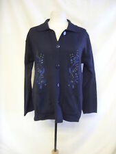 Ladies Cardigan - JQEM, M/L, navy, floral embroidery, 35% cotton, knitted 0460