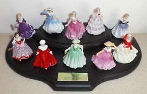 """Royal Doulton Miniature Maidens Collection ~ 10 x 2¼"""" Lady Figures Boxed +Stand"""