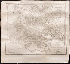 1824 - Carte géographique ancienne de l'Europe, par G.B. Depping. Rare