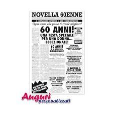 Biglietto auguri giornale compleanno 60 anni amica quotidiano regalo umoristico