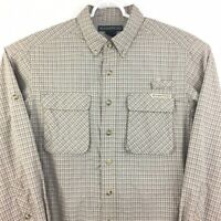 ExOfficio Fishing Hiking Shirt Mens Medium Vented Roll Sleeve Nylon Plaid  #4775