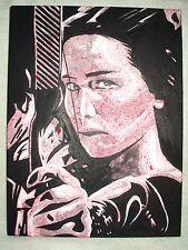 Lienzo Jennifer Garner los Juegos Del Hambre Rosa Moteado Arte 16x12 pulgada de acrílico